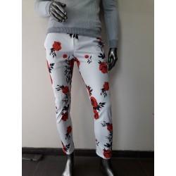 Pantalons à fleurs blanc-rouge