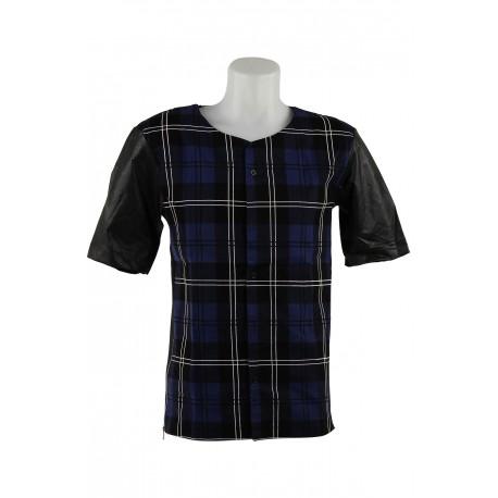 chemise bleue manches courtes type carreaux